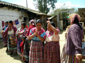 Mayan women in courtyard