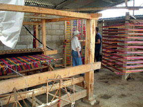 Workshop with large loom