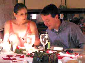 Brittany and Spencer at wedding rehearsal dinner