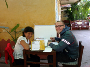 Brian studying Spanish with his instructor at La Union