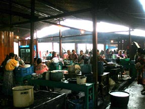 A huge food court in the center of the Chichicastenango marketplace