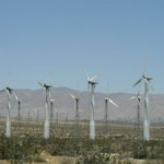 a field of windmils generating electric power