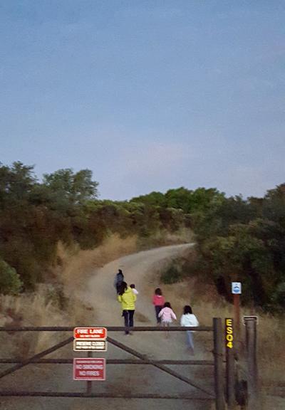 children going up fire trail